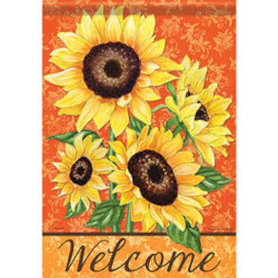 Sunflower Flag, Welcome Flag, Garden Flag, Carson Flag, Garden Flag