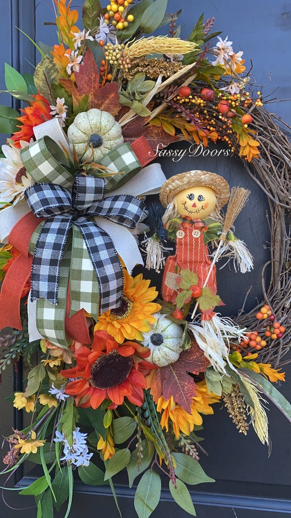 Fall Wreath, Fall Wreath For Front Door, Sunflower Wreath, Autumn Wreath, Thanksgiving Wreath, Sassy Doors Wreath