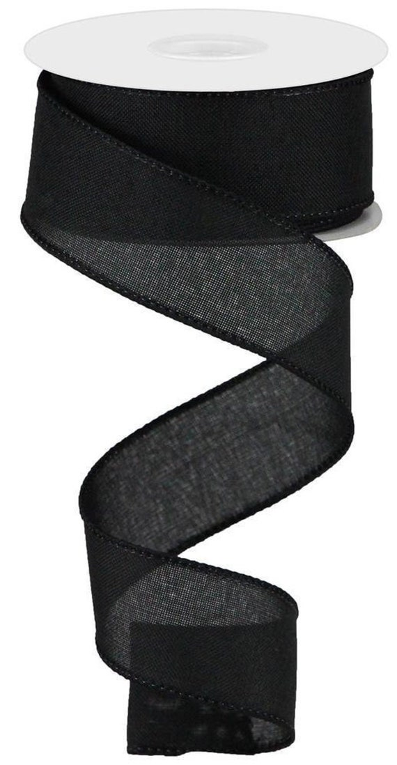Black Wired Ribbon, Fall Black Ribbon, Denim 1 1/2 Inch Ribbon, 1.5 inch Ribbon