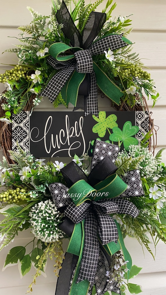 St.Patrick's Day Wreath, Lucky Irish Wreath, Clover Wreaths,