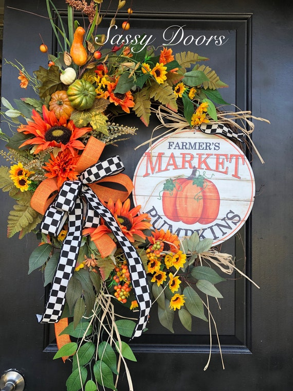Fall Wreath, Sunflower Wreath, Pumpkin Wreath, Fall Front Door Wreath, Fall Grapevine Wreath, Thanksgiving Wreath, Sassy Doors Wreaths