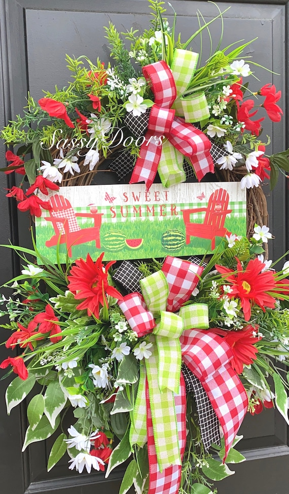 Summer Wreath, Watermelon Wreath, Summer Grapevine Wreath, Summer Wreath for Front door, Farmhouse Wreath, Sassy Doors Wreath,