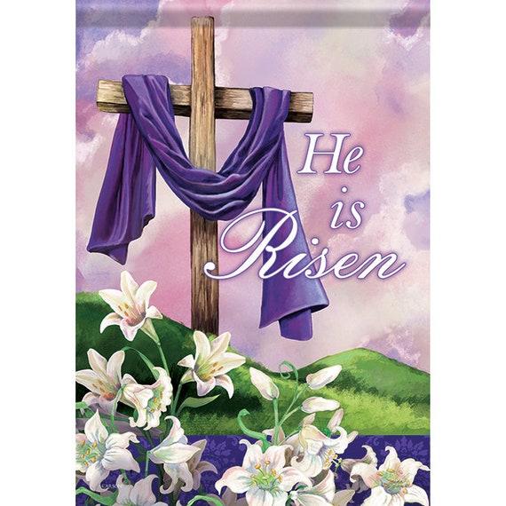 Religious Easter Garden Flag, Easter Flag, Easter Lily  Flag, Cross Flag