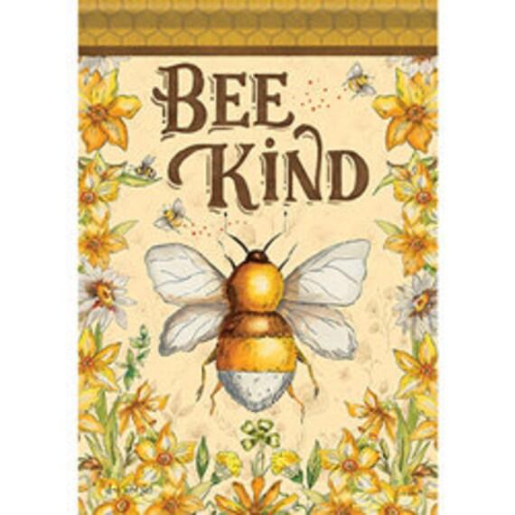 Bee Kind Bumble Bee Garden Flag-, Summer Bee Flag, Summer Garden Flag