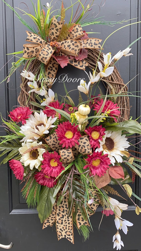 Fall Wreath, Fall Front Door Wreath-Wreath, Pumpkin Wreath- SassyDoors Wreath