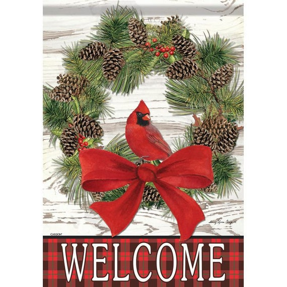 Cardinal  House Flag, House Flag, Winter  Flag, Christmas Wreath Flag, Christmas Flag,