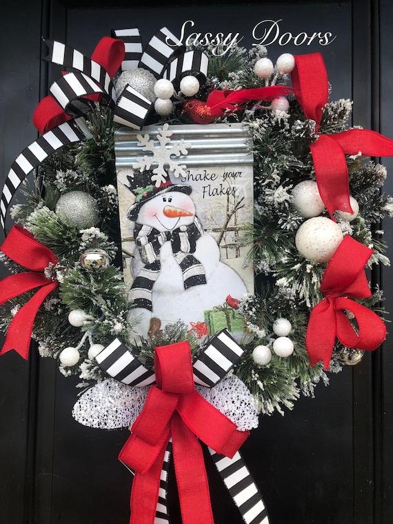 Winter Wreath,Snowman Wreath, Winter Front Door Wreath, Snow Wreath, WinterWreath for Front Door,