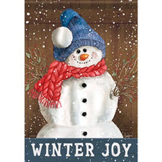 Snowman Flag, Winter Joy House Flag, House Flag, Whimsical Flag, Winter House Flag