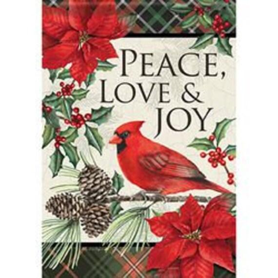 Cardinal Flag, Peace, Love And Joy Flag, Garden Flag, Christmas Flag, Double Sided Flag