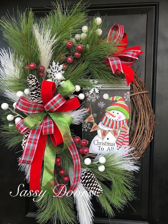 Snowman Wreath, Christmas Wreath, Snowman Grapevine Wreath,  Wreath, Sassy Doors Wreath