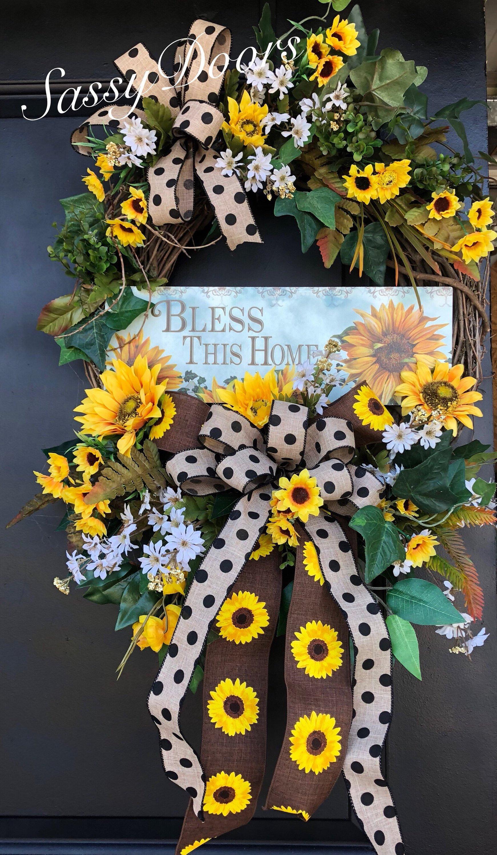 Sunflower Wreaths Bless This Home Wreath Summer Wreath Summer
