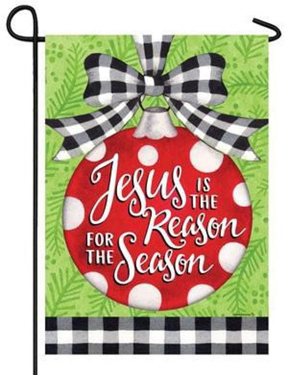 Christmas Ornament  Flag- Garden Accent Flag, Jesus  Flag, Winter Flag
