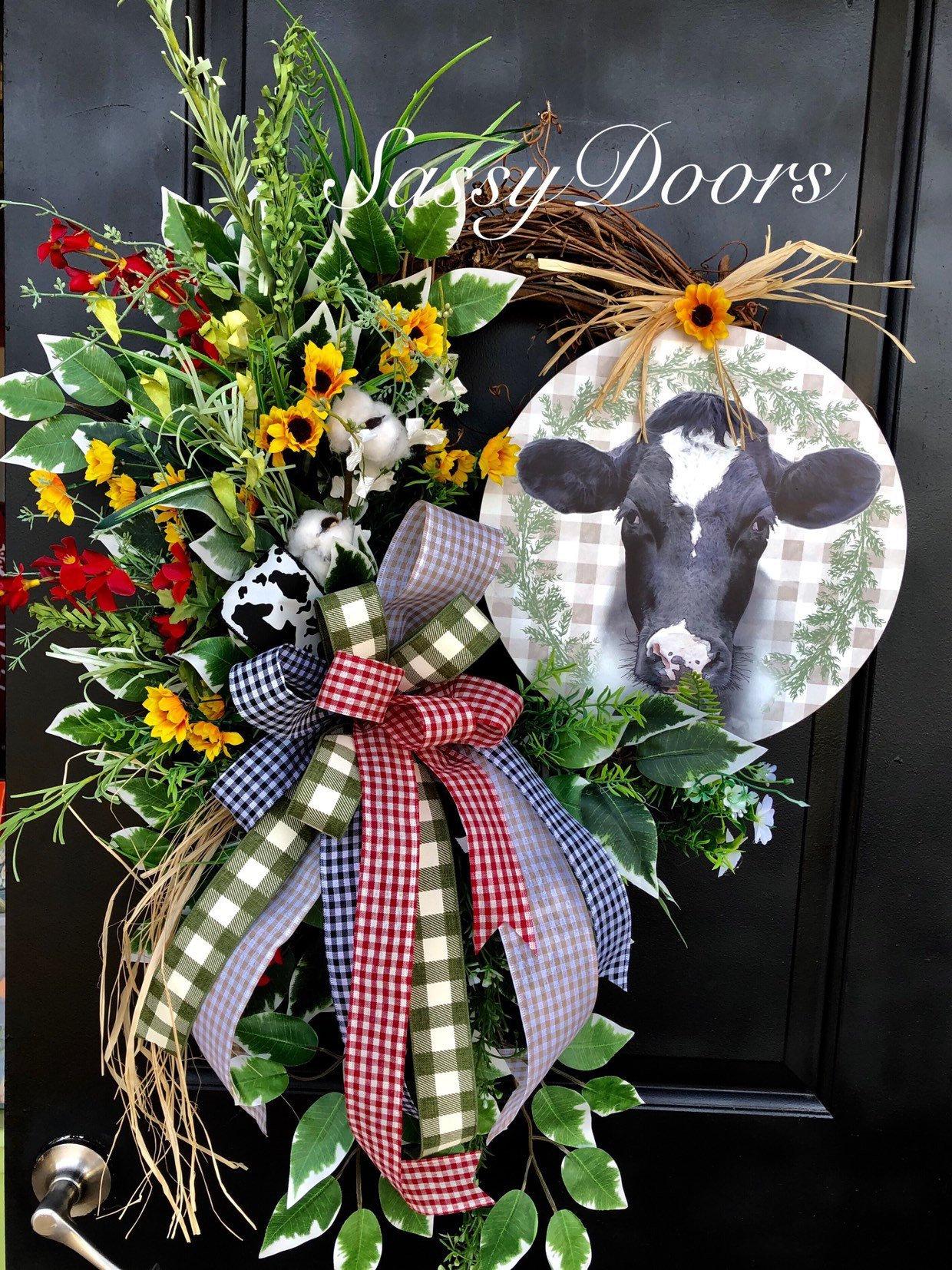 Farmhouse Wreath Wreath For Front Door Wreath With Cow