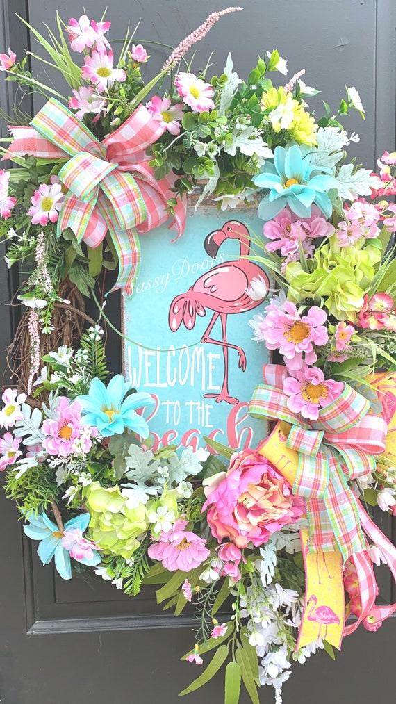 Summer Wreath, Beach Wreath, Nautical Wreath, Flamingo Wreath, Coastal Wreath, Front Door Wreath, Sassy Doors Wreath,