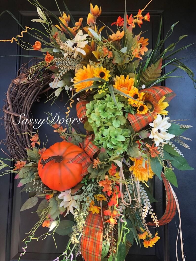 Fall Grapevine Wreath Thanksgiving Wreath Fall Wreath Hydrangea Wreath Fall Wreath Front Door Wreath