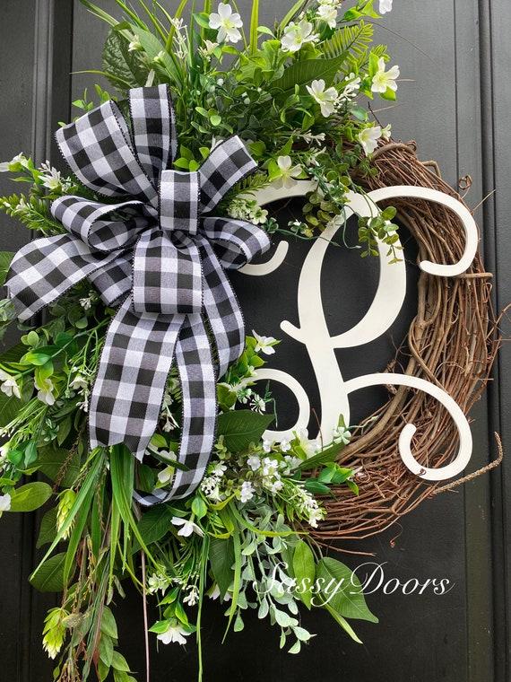 Monogram Wreath, Front Door Wreath, Monogram Wreath, Grapevine wreath, Monogram Wreath For Front Door, Everyday Wreath