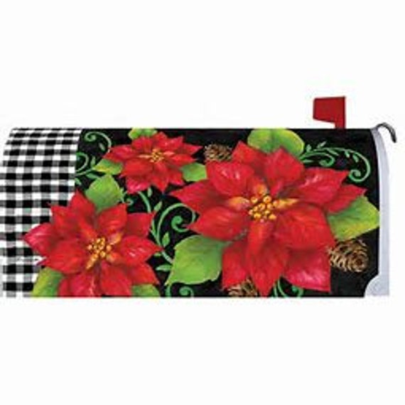 Buffalo Plaid Christmas,  Mailbox Cover, Poinsettia Christmas Flag, Buffalo Plaid Flag,  Custom Decor Flag,