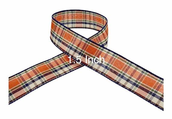 Fall Plaid Ribbon, Orange Plaid Ribbon, Navy Blue Plaid Ribbon, Wired Ribbon