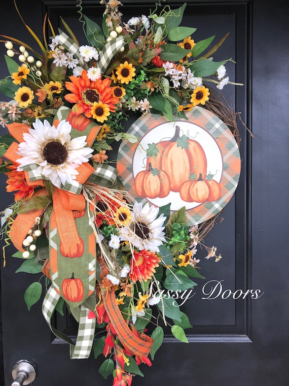 Fall Wreath, Sunflower Wreath, Personalized Fall Front Door Wreath, Thanksgiving Wreath, Autumn  Wreath, SassyDoors Wreath