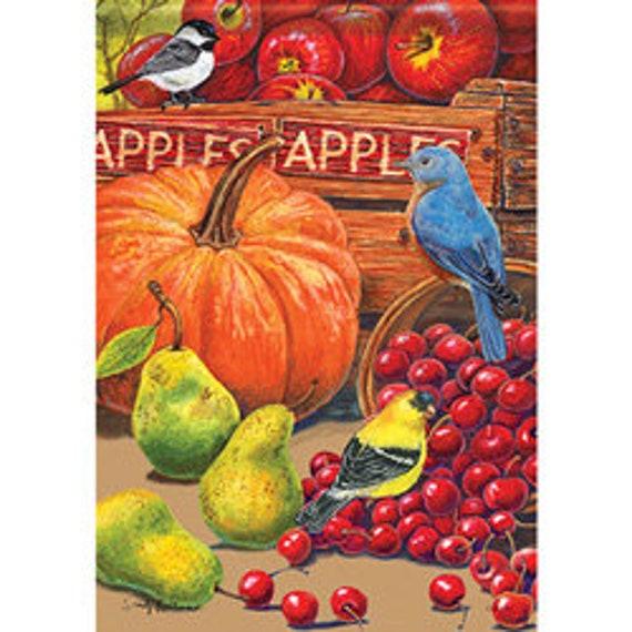 Farmhouse Fall Flag, Farmers Market Fall Flag, Apple Flag< Pumpkin Fall Flag, Autumn Flag, Pumpkin Garden Flag,
