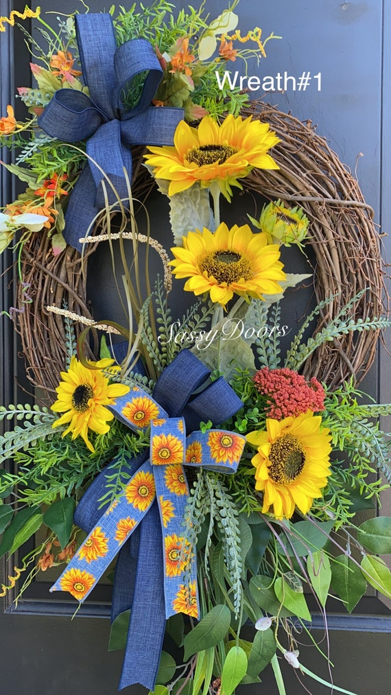 Sunflower Wreath, Denim Wreath, Sunflower Front Door Wreath, Sassy Doors Wreath, Double Door Grapevine Wreath,