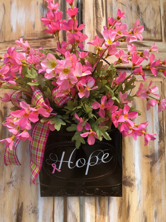 Pink Ribbon, Wall Basket, Breast Cancer Awareness, Breast Cancer Wall Basket,Floral Arrangement, Door Hanger, Hope Wall Basket,