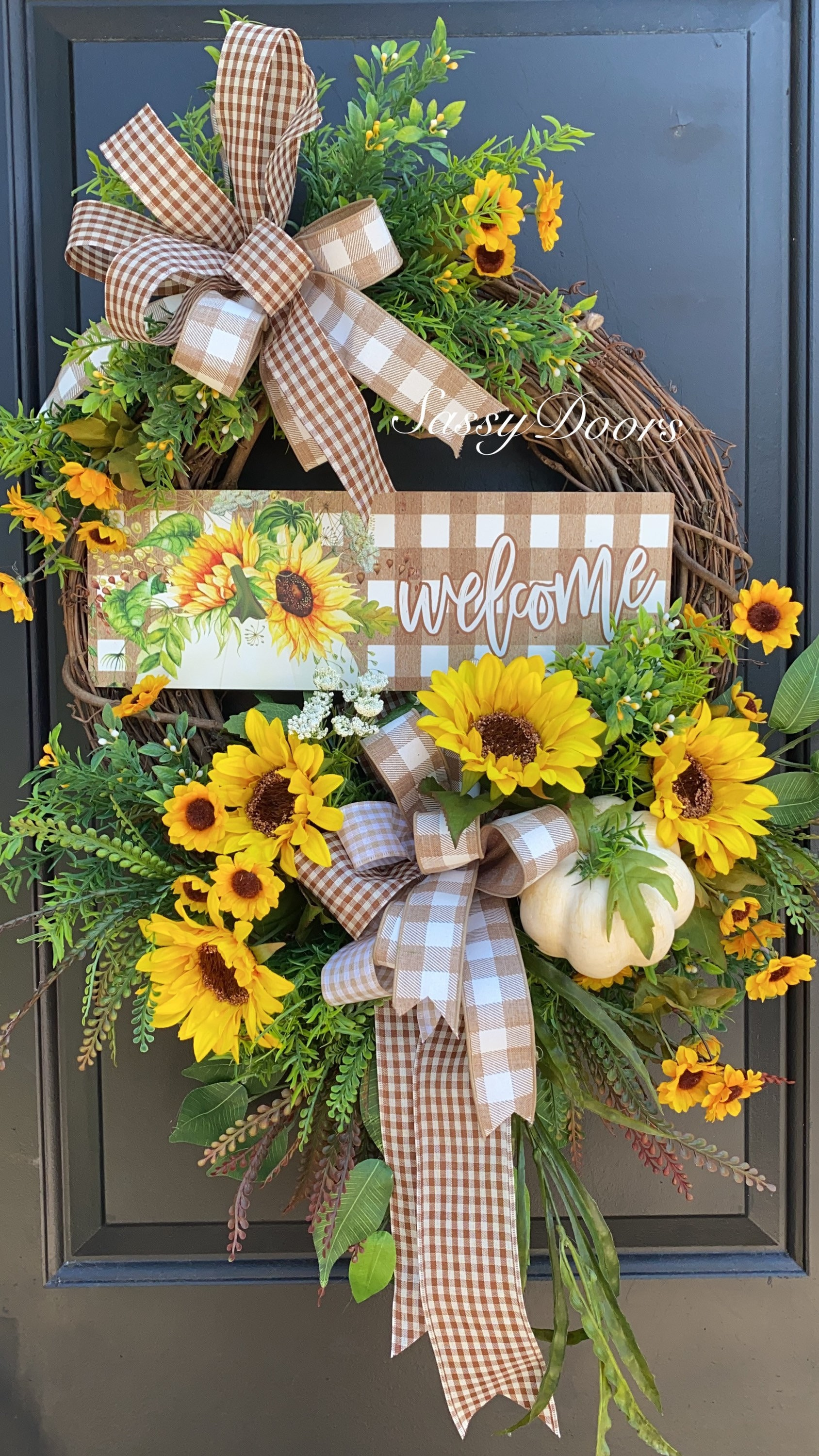 Fall Sunflower Wreath Fall Wreath Sunflower Front Door Wreath Pumpkin Wreath Sassydoors Wreath