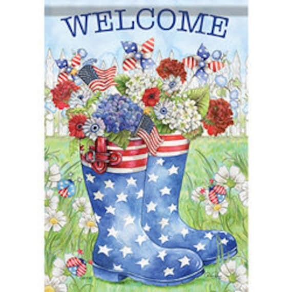 Rain Boot Patriotic House Flag,  Patriotic Flag, Summer Flag, House Flag, July 4th Flag,