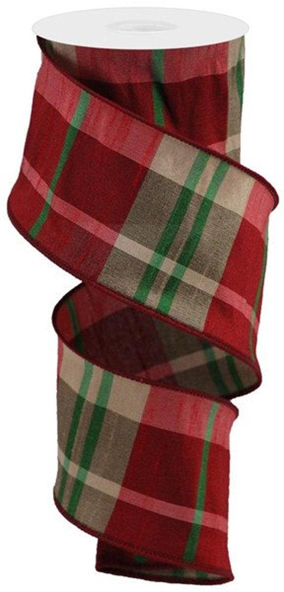 """Plaid Faux Dupioni Ribbon, Christmas Ribbon 2.5""""X10yd,"""
