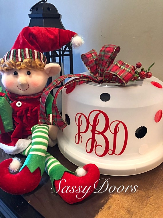 Monogram Christmas Gift, Monogram Cake Carrier, Personalized Cake Carrier, Bridal Gift, Personalized Gift, Christmas Gift