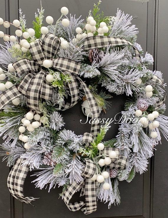 Winter Wreath,Snow Wreath, Winter Front Door Wreath, WinterWreath for Front Door,