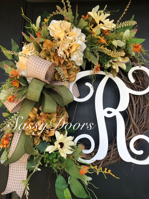 Fall Wreath, Fall Monogram Wreath, Wreath With Letter, Hydrangea Wreath, Sassy Doors Wreath, Fall Wreath for front door