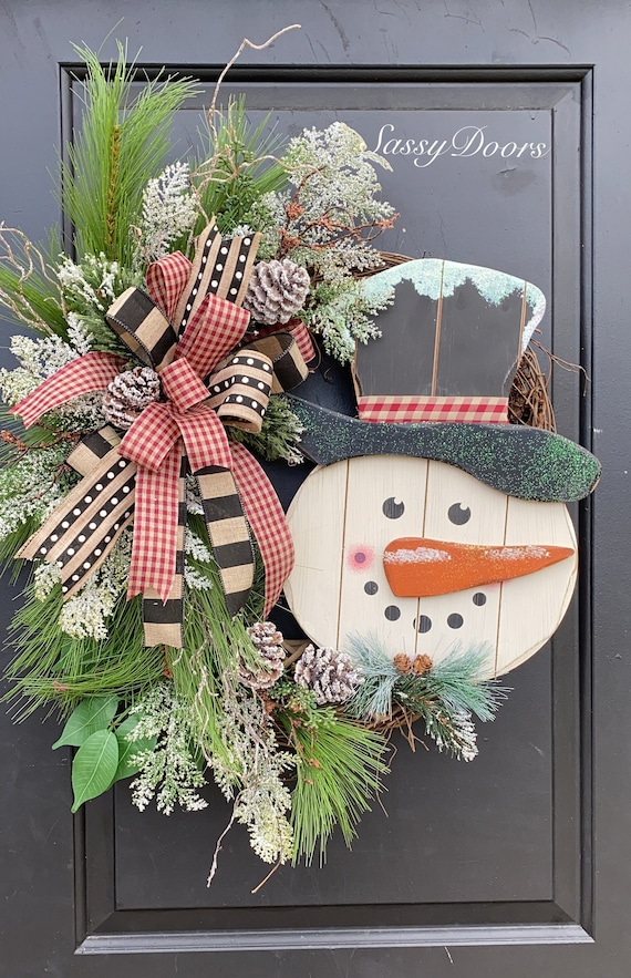 Farmhouse Snowman Wreath, Winter Door Wreath, Snowman Farmhouse Wreath, Snow Wreath