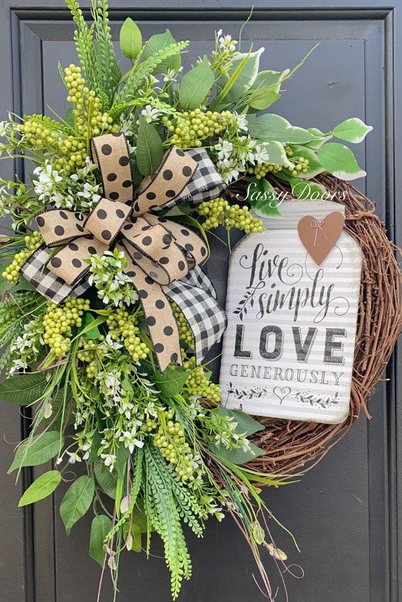 Mason Jar Wreath Everyday Wreaths, Farmhouse Wreath, Wreath For Front Door, Sassy Doors Wreath