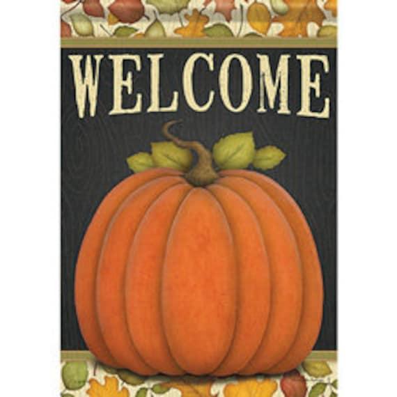 Give Thanks Pumpkin House Flag, Large Pumpkin Flag, Fall  Flag, Welcome Flag, House Flag,
