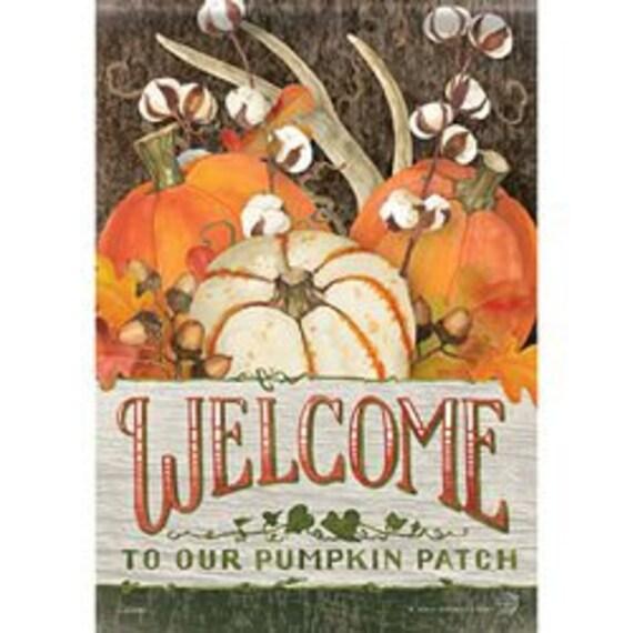 Fall Garden Flag, Pumpkin Flag, Pumpkin Patch Welcome Garden Flag Sunflower Garden Flag, Cotton Flag, Flag With Pumpkins