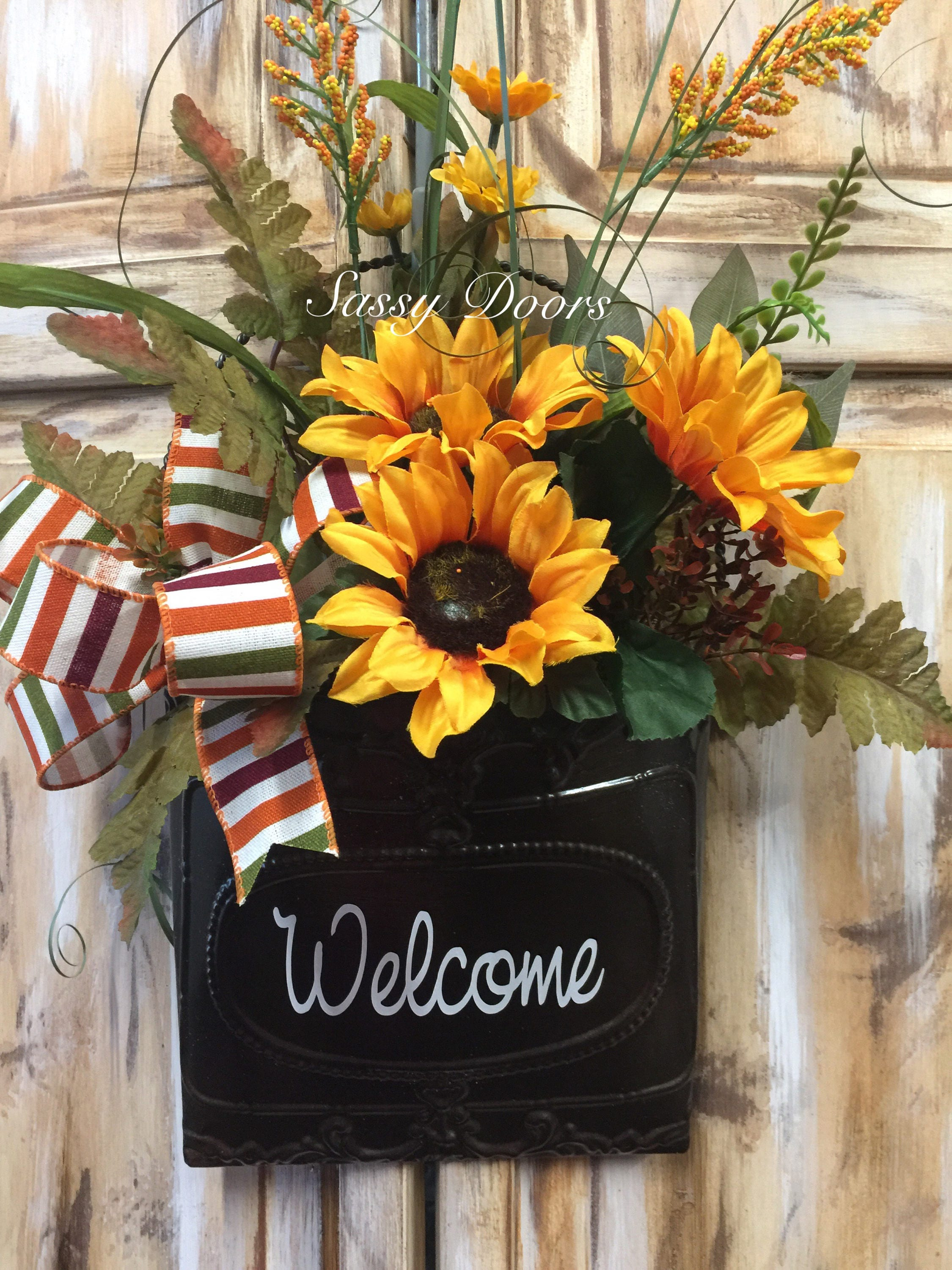 Sunflower Wall Basket Wall Basket Door Wreath Floral