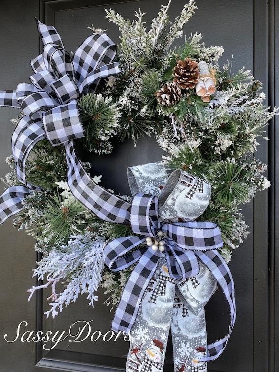 Winter Wreath,  Winter Front Door Wreath, Buffalo Plaid Wreaths, Sassy Doors Wreath