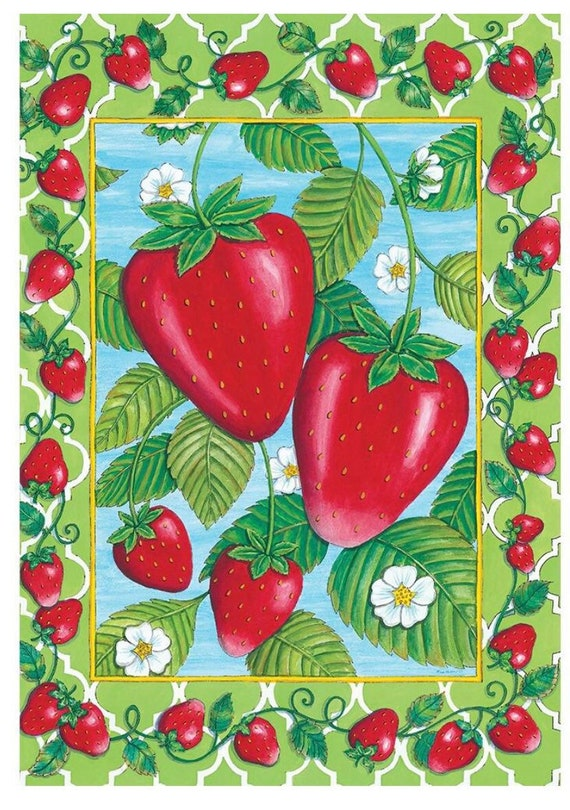 Summer Flag, Strawberry Flag, Garden Flag, Flag With Strawberries , Garden Flag.