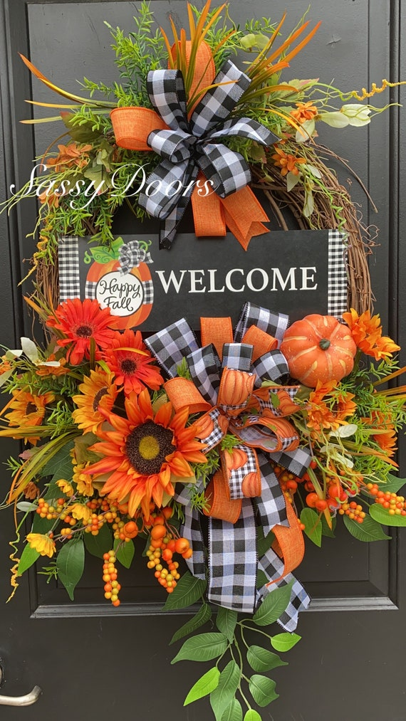 Fall Sunflower Wreath, Fall Wreath,  Sunflower Front Door Wreath- Pumpkin Wreath-SassyDoors Wreath,