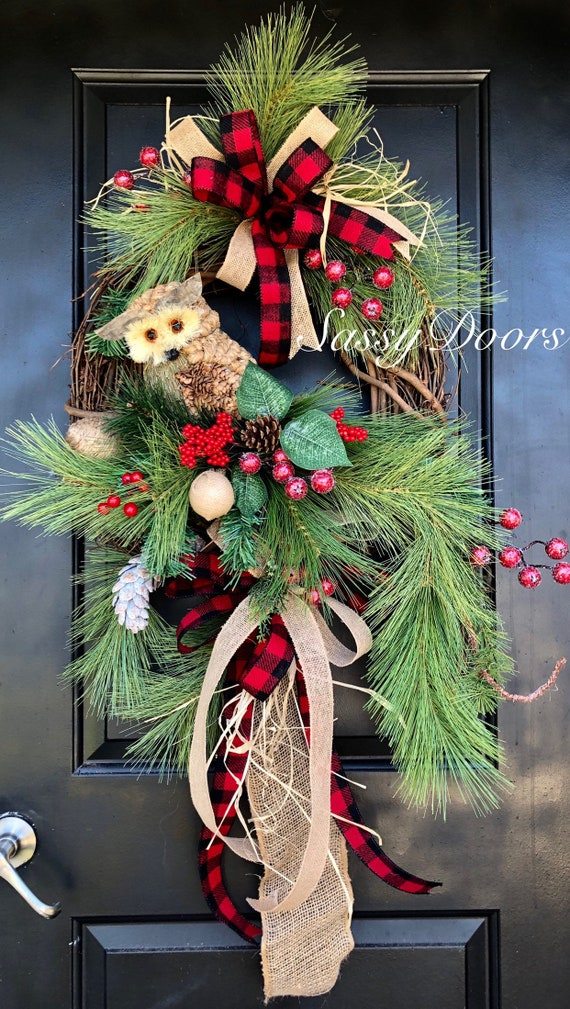 Christmas Wreath , Owl Wreath, Woodland Christmas Wreath, Christmas Front Door Wreath, Winter Wreath For Door,