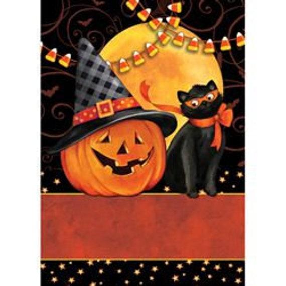 Scaredy Cat Halloween House Flag, Happy Halloween Flag-  Pumpkin Flag, House Accent, Fall Flag,