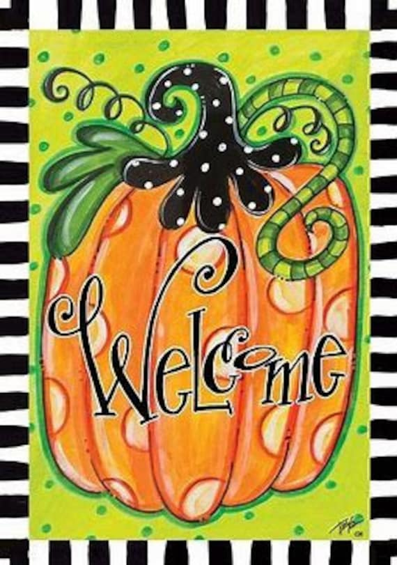 Fall Flag, Autumn Flag, Pumpkin Garden Flag, Whimsical Fall Flag,Custom Decor Flag,Sassy Doors