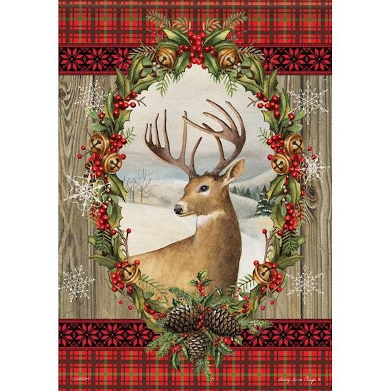 Buffalo Plaid Deer Flag, Christmas Garden Flag, Flag With Deer, Mountain Welcome  Flag, Cabin Flag, Sassy Doors