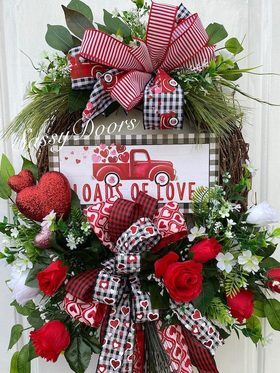 Valentine Wreath, RedTruck Valentine's Wreath, RedHeart Valentine Wreath,  Heart Wreath, Valentine Wreath For Front Door, Sassy Door Wreath,