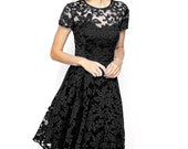 NEW Hot New Elegant Fashion Round Neck Short-Sleeved Black Lace Dress Party Dress Casual Formal Dress
