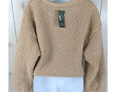 Wild Fable Faux Sherpa Sweatshirt Crewneck Knit Cuffs Cropped Tan Size Small Chic Trending Casual Tan