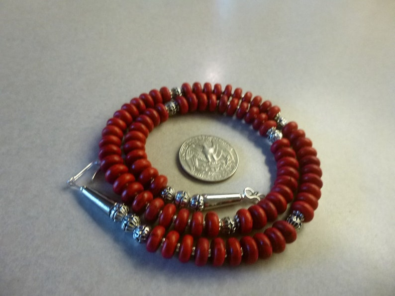 Red Coral Howlite And Silver Native American Navajo Necklace