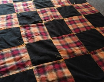 Black and Orange Checkered Quilt