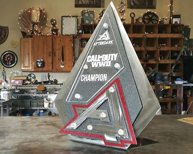 Custom Trophy Award made from Metal Triangle Design Gaming Recognition